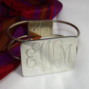 Vintage Sterling Silver Monogrammed Hinge Bracelet
